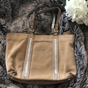 Suede Coach Purse with Beading Detail